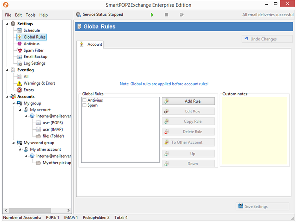 Screenshot SmartPOP2Exchange Rules Editor