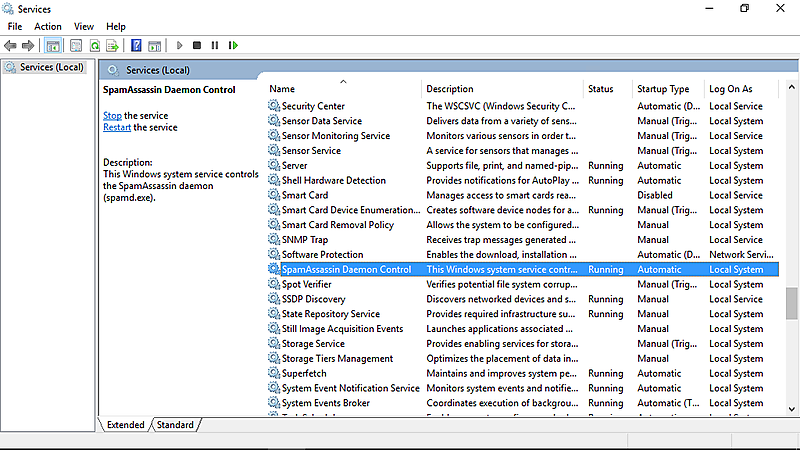Screenshot SpamAssassin in a Box installed as a Windows service