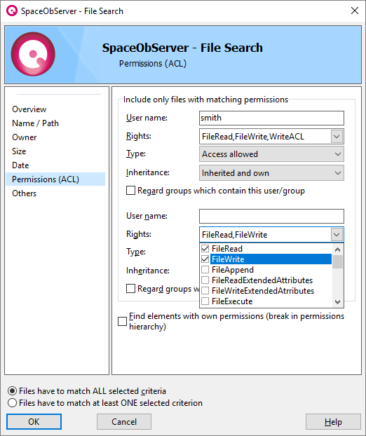 Screenshot SpaceObServer-ACL-Filter