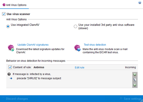 Screenshot Exchange Server Toolbox shows antivirus settings