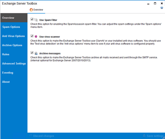 Screenshot Exchange Server Toolbox shows feature overview