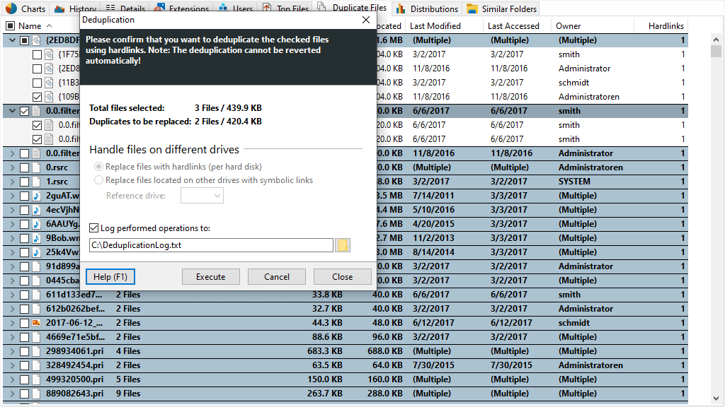 Screenshot SpaceObServer showing deduplication process