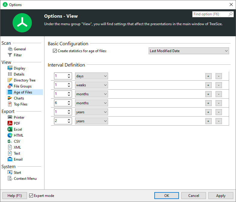 TreeSize main window options fpr age of files