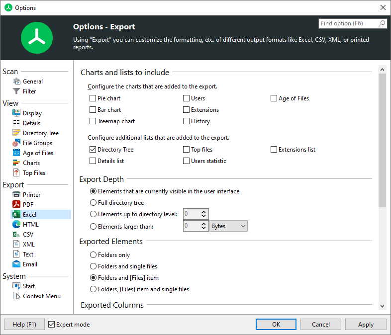 TreeSize main window excel options