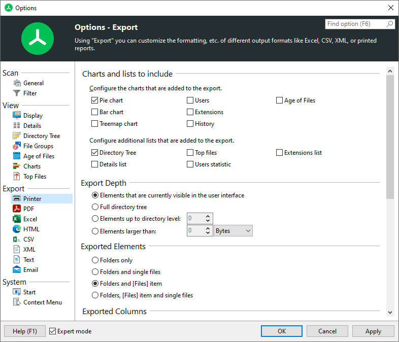 TreeSize main window printer options