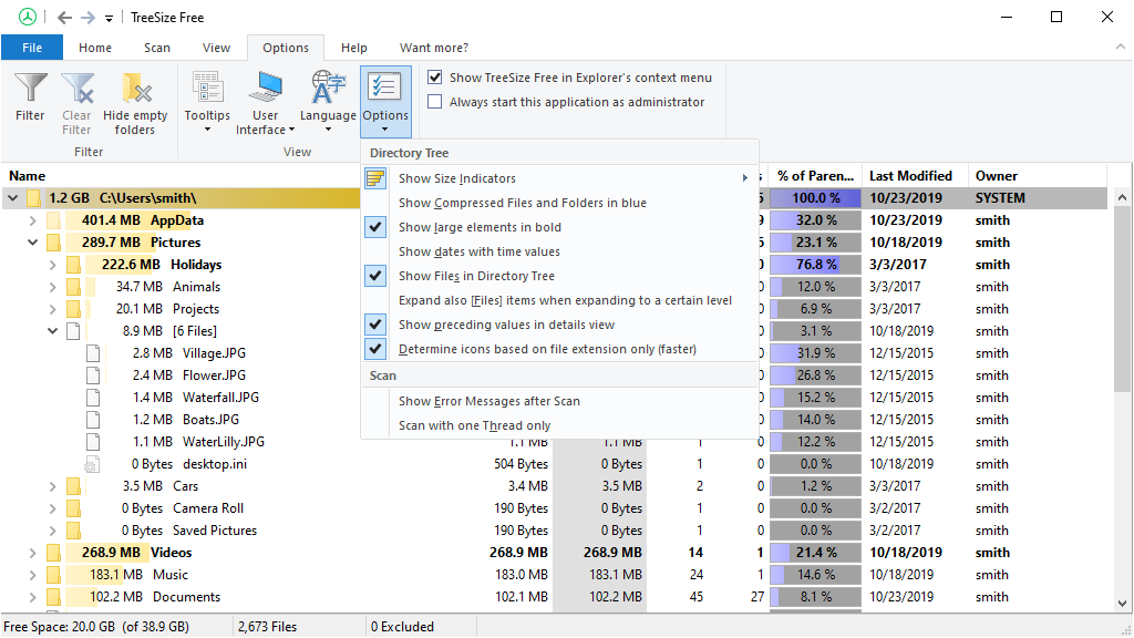 Screenshot TreeSize Free Columns-Options